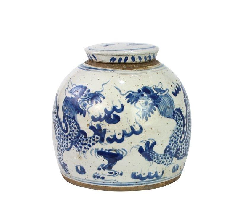 Chinese Ginger Jar Blue Dragon Handpainted Porcelain L24xH24cm