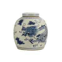 Chinesischer Ingwertopf Porzellan Handbemalt Drache Blau B29xH29cm