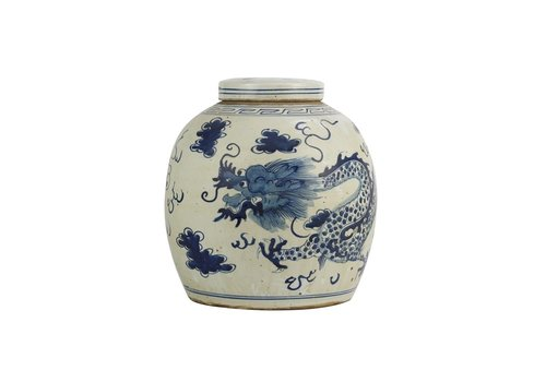 Fine Asianliving Pot à Gingembre Chinois Dragon Bleu Peint à la Main L29xH29cm