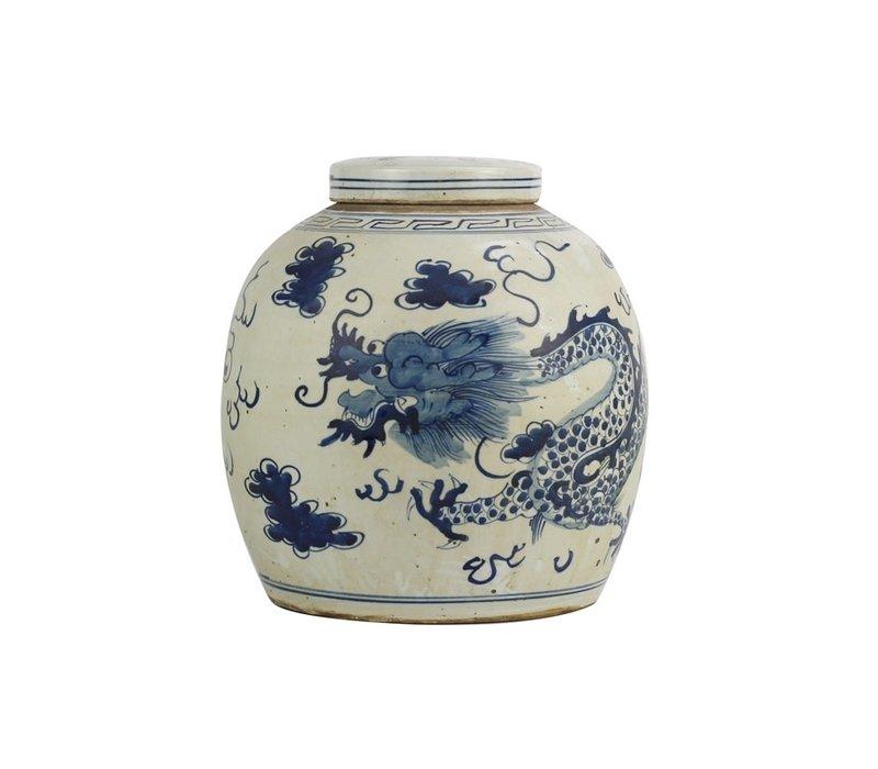 Vaso Ginger Jar Cinese in Porcellana Drago Dipinto a Mano Blu L29xA29cm