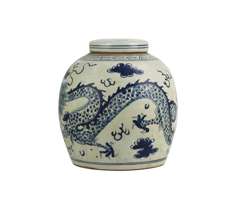 Chinese Ginger Jar Blue Dragon Hand-painted W29xH29cm