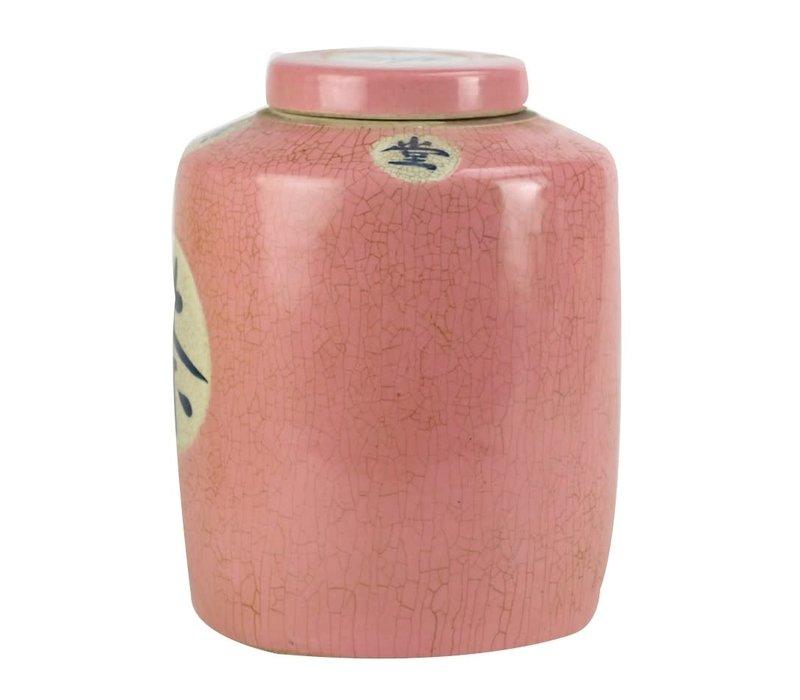"""Chinese Gemberpot Roze """"Tea"""" Handbeschilderd L12xH28cm"""