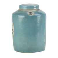 "Chinese Gemberpot Blauw ""Thee"" Handgeschilderd L12xH28cm"