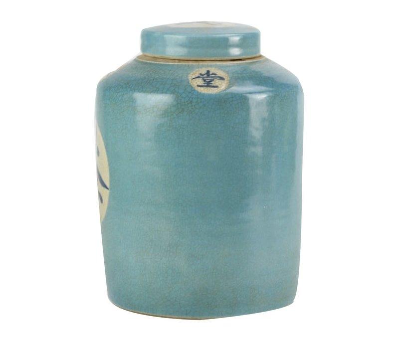 """Chinese Gemberpot Blauw """"Tea"""" Handbeschilderd L12xH28cm"""