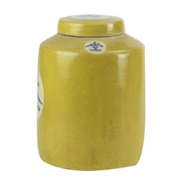 """Chinese Gemberpot Geel """"Tea"""" Handbeschilderd L12xH28cm"""