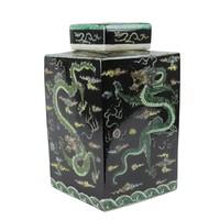 Chinesischer Ingwertopf Porzellan Handbemalt Drache Schwarz B18xT18xH30cm
