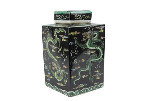 Fine Asianliving Pot à Gingembre Chinois Dragon Noir Peint à la Main L18xP18xH30cm
