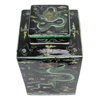 Chinese Gemberpot Zwart Draak Handgeschilderd L18xB18xH30cm