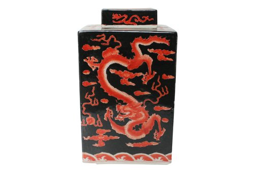 Fine Asianliving Chinese Ginger Jar Handpainted Dragon Porcelain Red Black W18xD18xH34cm