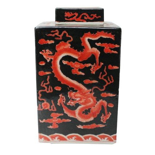 Chinese Gemberpot Zwart Rood Draak Handbeschilderd L18xB18xH34cm