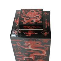 Chinese Gemberpot Zwart Rood Draak Handgeschilderd B18xD18xH34cm