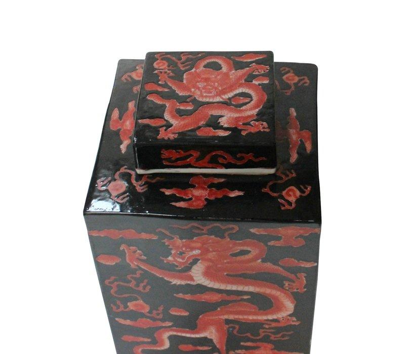 Vaso Ginger Jar Cinese in Porcellana Drago Dipinto a Mano Rosso Nero L18xP18xA34cm