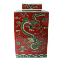 Chinese Ginger Jar Hand-painted Dragon Porcelain Red W18xD18xH34cm