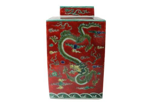 Fine Asianliving Chinese Gemberpot Rood Draak Handbeschilderd L18xB18xH30cm