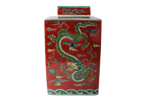Fine Asianliving Chinese Ginger Jar Handpainted Dragon Porcelain Red W18xD18xH34cm