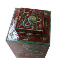 Chinese Gemberpot Rood Draak Handgeschilderd B18xD18xH30cm