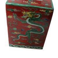 Chinesischer Ingwertopf Porzellan Handbemalt Drache Rot B18xT18xH34cm