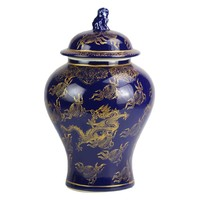 Chinese Ginger Jar Navy Dragon Handpainted W28xD28xH45.5cm