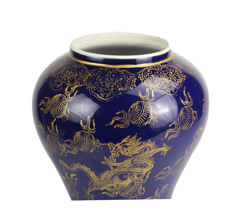 Chinese Gemberpot Draak Handgeschilderd Marineblauw B28xD28xH45.5cm