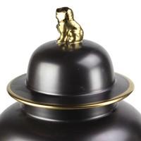 Vaso Ginger Jar Cinese in Porcellana Nero e Oro D22xA38cm