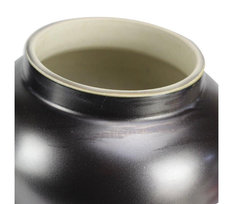 Chinesischer Ingwertopf Porzellan Schwarz Gold D22xH38cm
