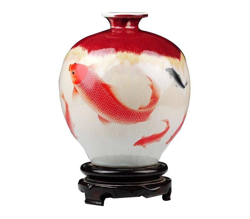 Chinese Vaas Koi Vissen Handbeschilderd L15xH30cm