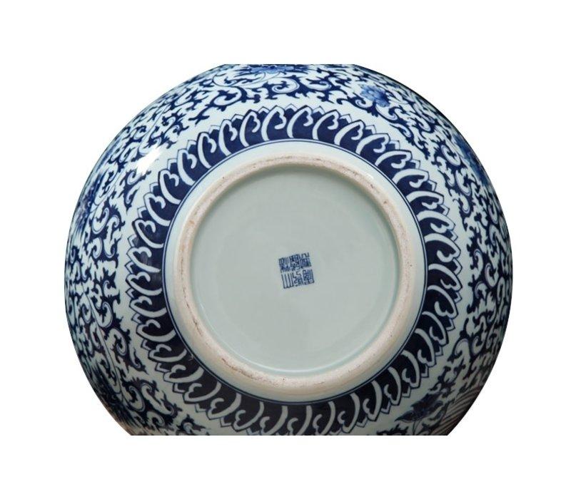 Grote Chinese Vaas Blauw Wit Dragon Handbeschilderd L21xH53cm
