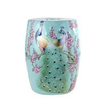 Fine Asianliving Ceramic Garden Stool Porcelain Peacock Blue B33xH45cm