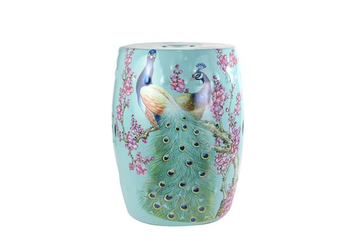 Fine Asianliving Fine Asianliving Ceramic Garden Stool Porcelain Peacock Blue B33xH45cm