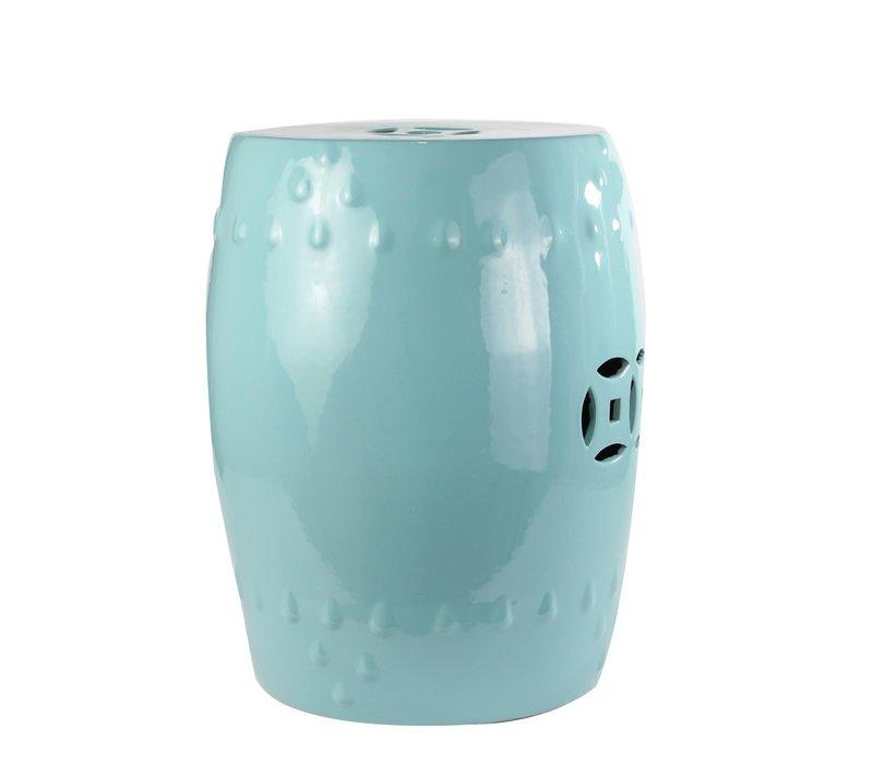 Chinese Kruk van Keramiek Porselein Bijzettafel Pauw Blauw B33xH45cm