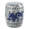 Fine Asianliving Keramische Kruk Blauw Wit Draak Porselein Stoel B33xH45cm