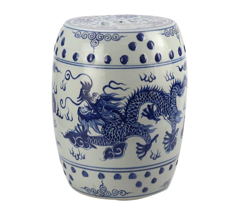 Keramische Kruk Blauw Wit Draak Porselein Stoel B33xH45cm