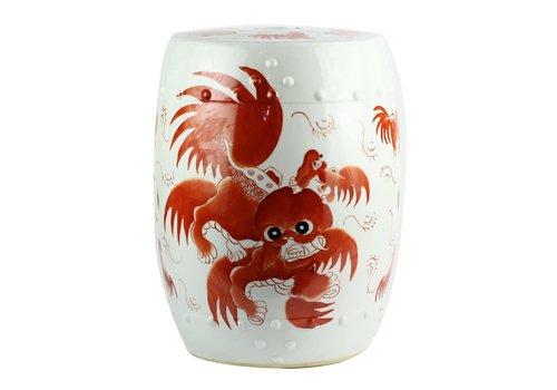 Fine Asianliving Taburete Ceramica Chino con Leones de Fu Pintado a Mano Anch.33 x Alt.45 cm