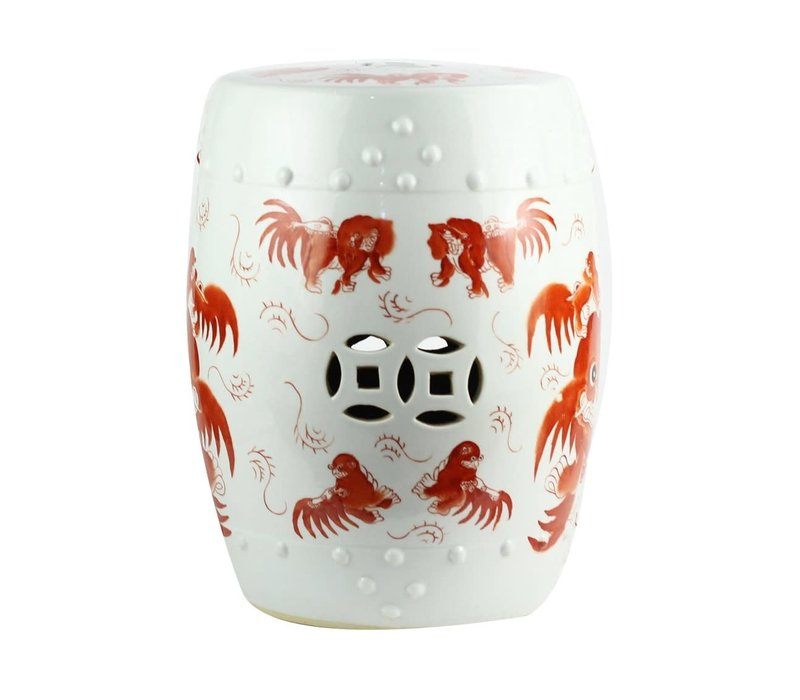 Ceramic Stool with Fu Dog Porcelain Chair W33xH45cm Hand-painted