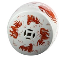 Keramische Kruk Wit Fu Dog Porselein Stoel B33xH45cm Handbeschilderd