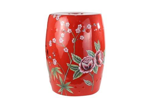 Fine Asianliving Chinese Kruk van Keramiek Porselein Bijzettafel Handgeschilderd Pioenen Rood B33xH45cm