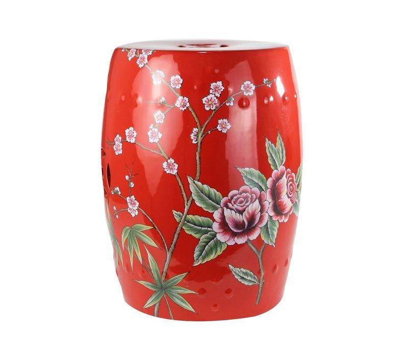 Fine Asianliving Ceramic Garden Stool Porcelain Peacock Red B33xH45cm