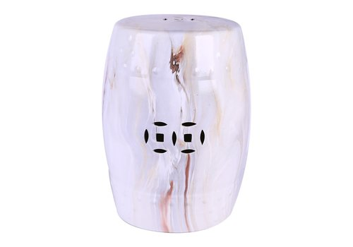 Fine Asianliving Ceramic Garden Stool Porcelain Marble W33xH45cm