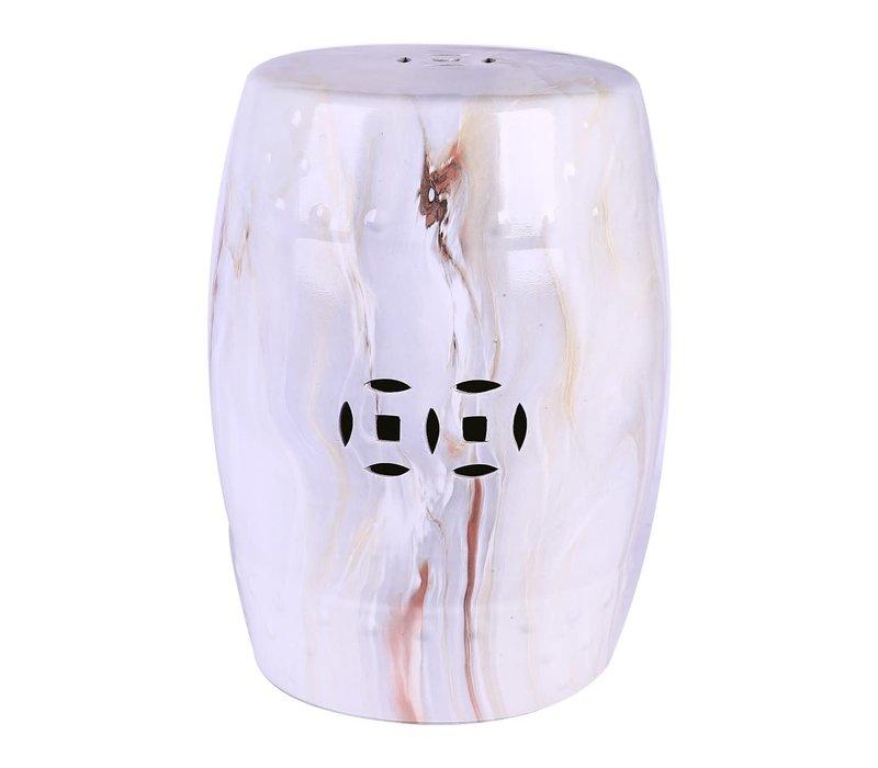 Ceramic Garden Stool Porcelain Marble W33xH45cm