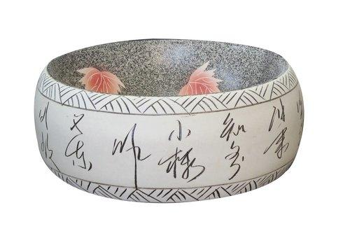 Fine Asianliving Keramische Wastafel Lotus Handbeschilderde B41xH15cm