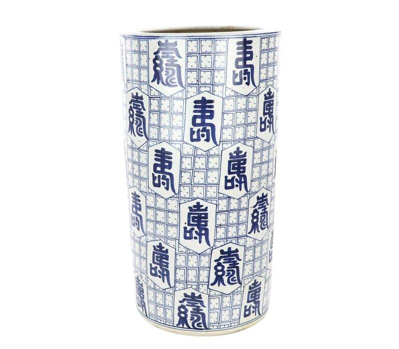 Porte-parapluie en Céramique Caractères Chinois L25xH47cm