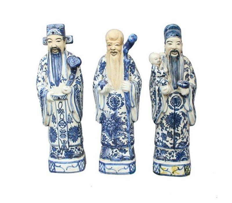 Chinese Beelden 3 Star Gods Fu Lu Shou Sanxing L10xH35cm Handbeschilderd