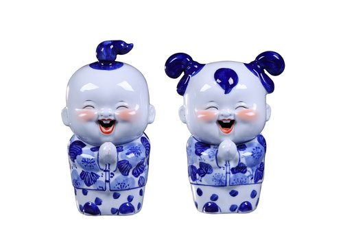 Fine Asianliving Chinese Beelden Blauw Zegenend Koppel Handgeschilderd Set/2