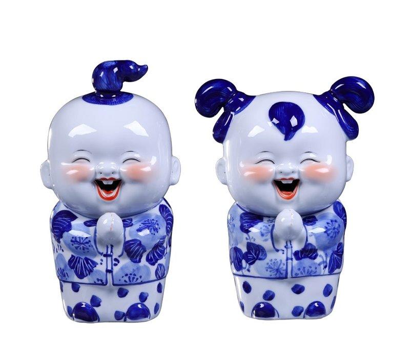 Chinese Beelden Blauw Zegenend Koppel Handgeschilderd Set/2