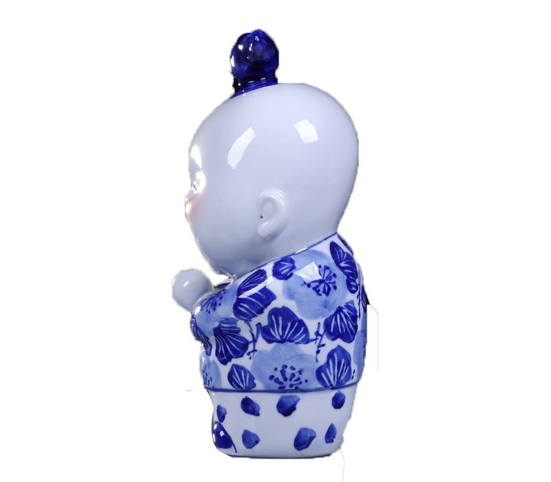 Chinese Statues Blue Blessing Couple Hand-painted Set/2