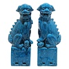 Fine Asianliving Chinese Foo Dogs Blue Porcelain Set/2 W11xD7xH28cm