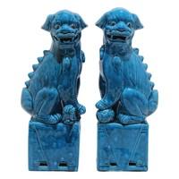 Chinese Foo Dogs Blauw Porselein Set/2 Handgemaakt B11xD7xH28cm