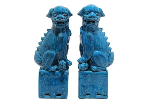 Fine Asianliving Chinese Foo Dogs Blauw Porselein Set/2 Handgemaakt