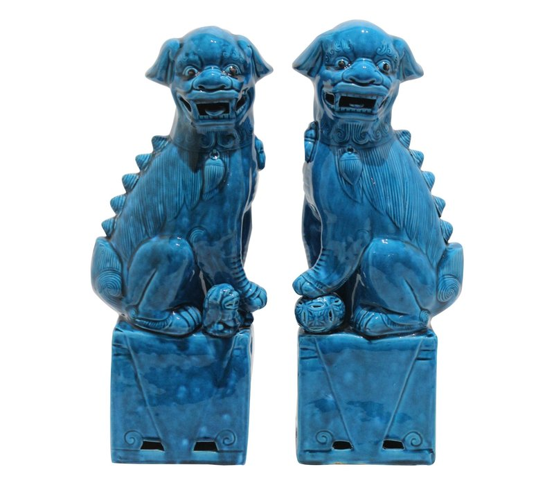 Chinese Foo Dogs Blue Porcelain Set/2 W11xD7xH28cm