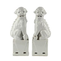 Chinese Foo Dogs Wit Porselein Set/2 Handmade